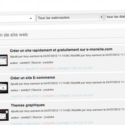Explorateur du module vidéo sur le CMS e-monsite