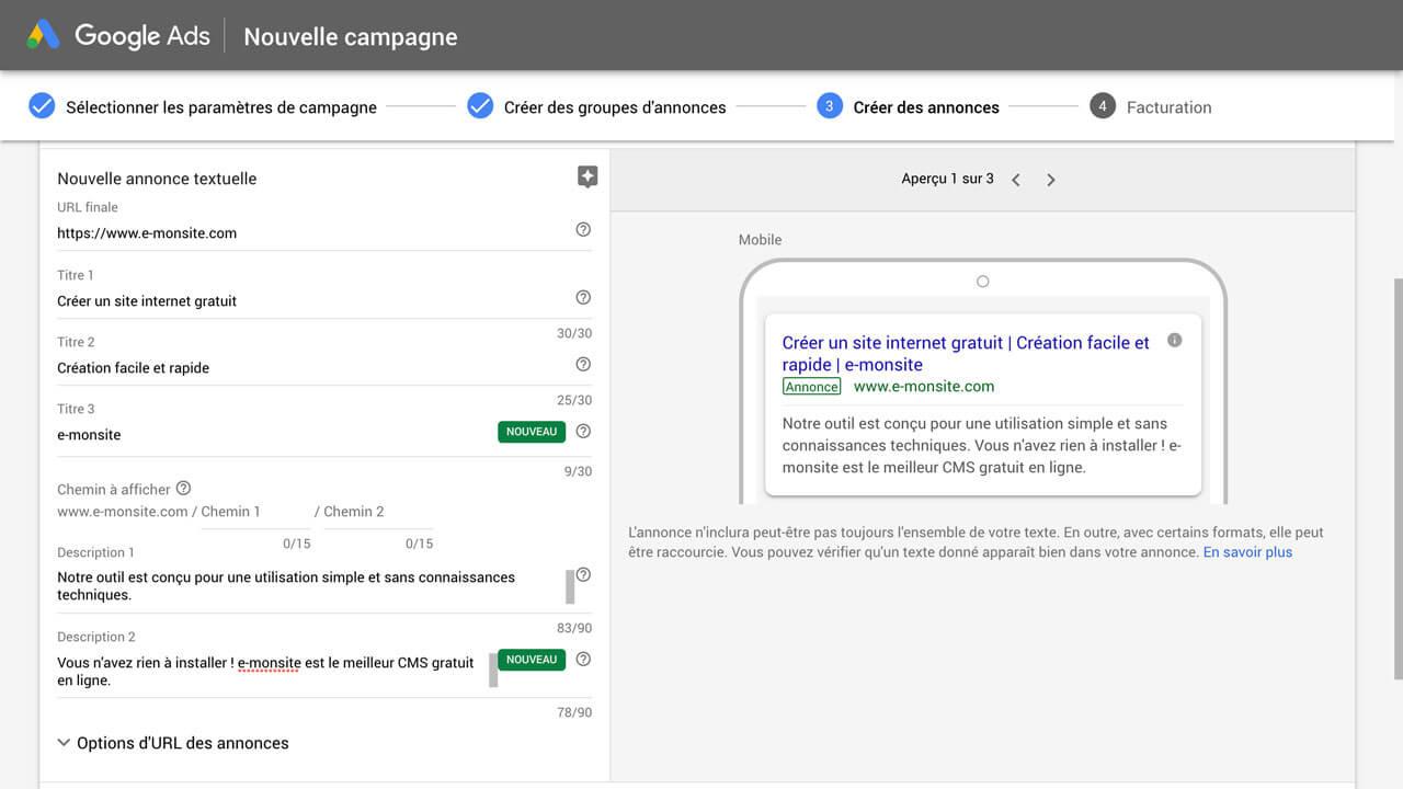 Créer une annonce Google Ads
