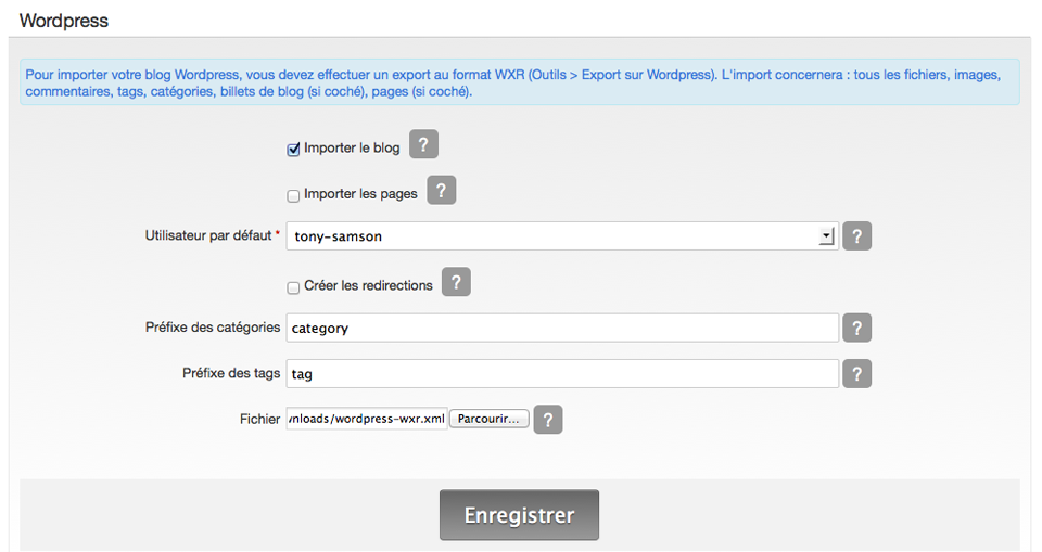 Importer / Exporter un blog créé avec tumblr sur e-monsite