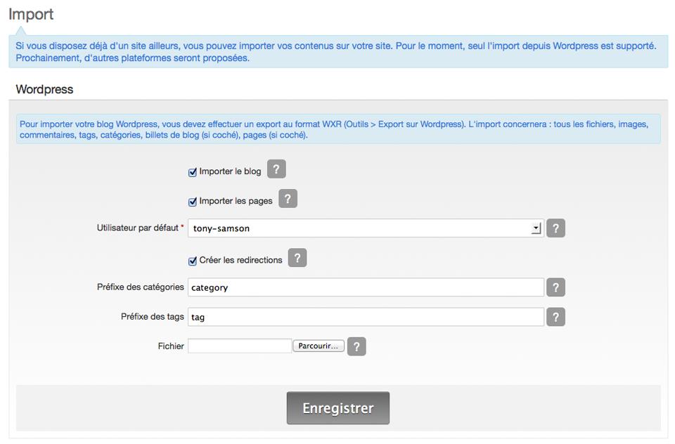 Le formulaire d'import du blog