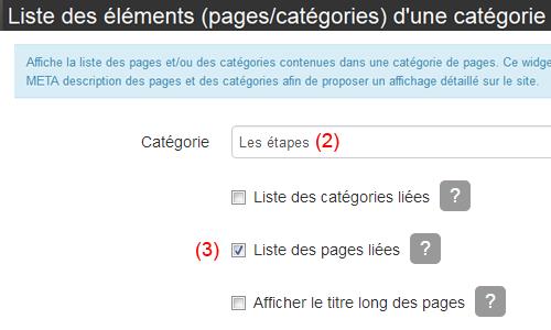 Choisir la catégorie et afficher uniquement la liste des pages