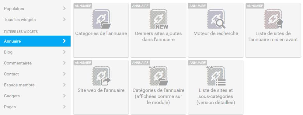Liste widgets annuaire
