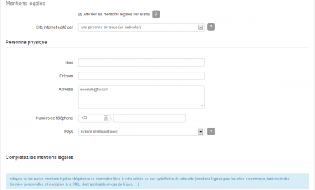 Ajouter les mentions légales pour un site gérer par un particulier