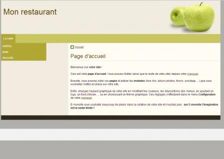 Le menu déroulant dans le menu horizontal