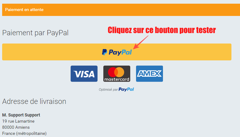 Mode test paypal cote site