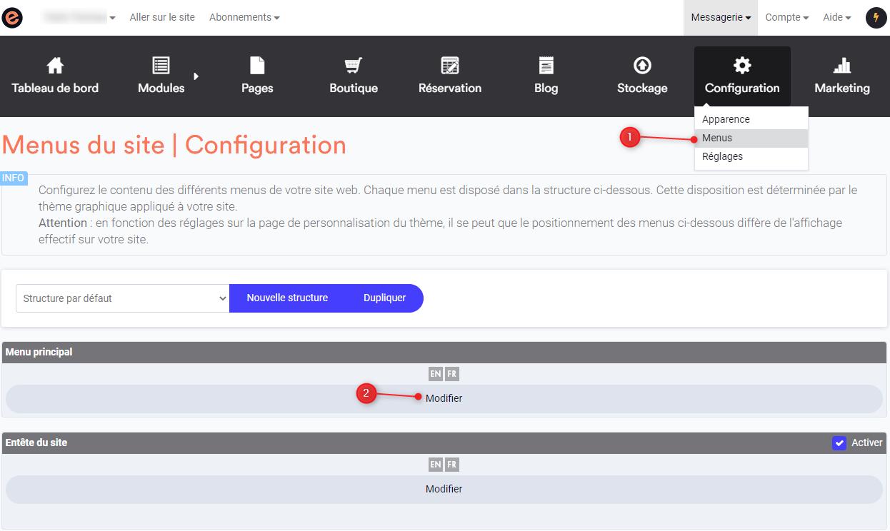 Modifier le menu horizontal du site