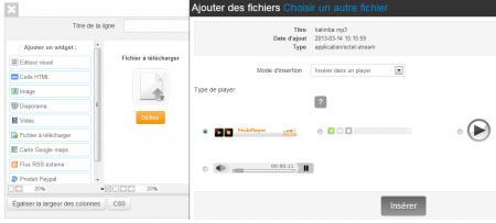 """Utilisez le widget """"fichier à télécharger"""" pour proposer un player de musique"""