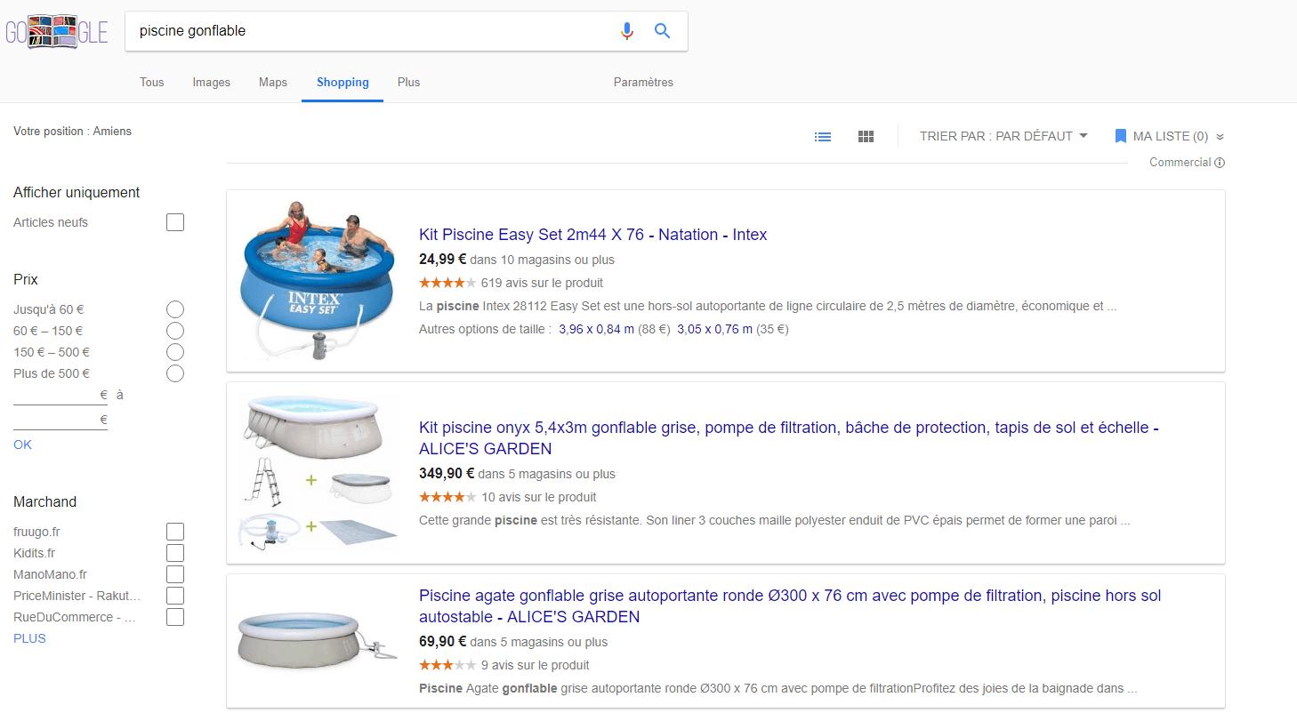 Onglet google shopping