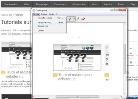"""L'outil """"capture"""" installé par défaut sur Windows 7"""