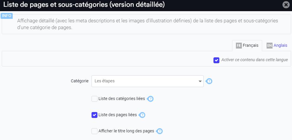 Paramétrage du widget pour l affichage détaille des pages