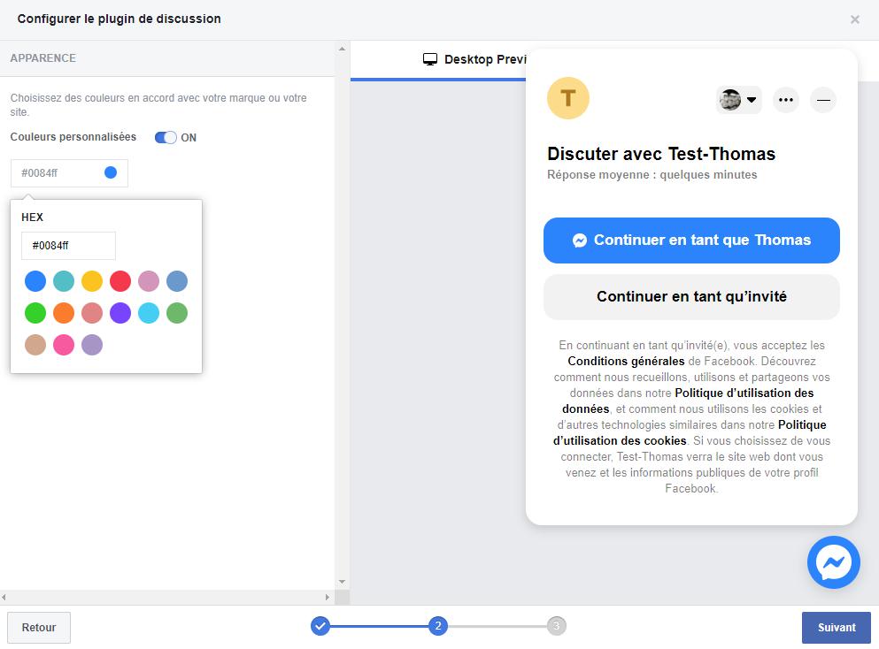 Personnaliser les couleurs de la fenêtre Messenger