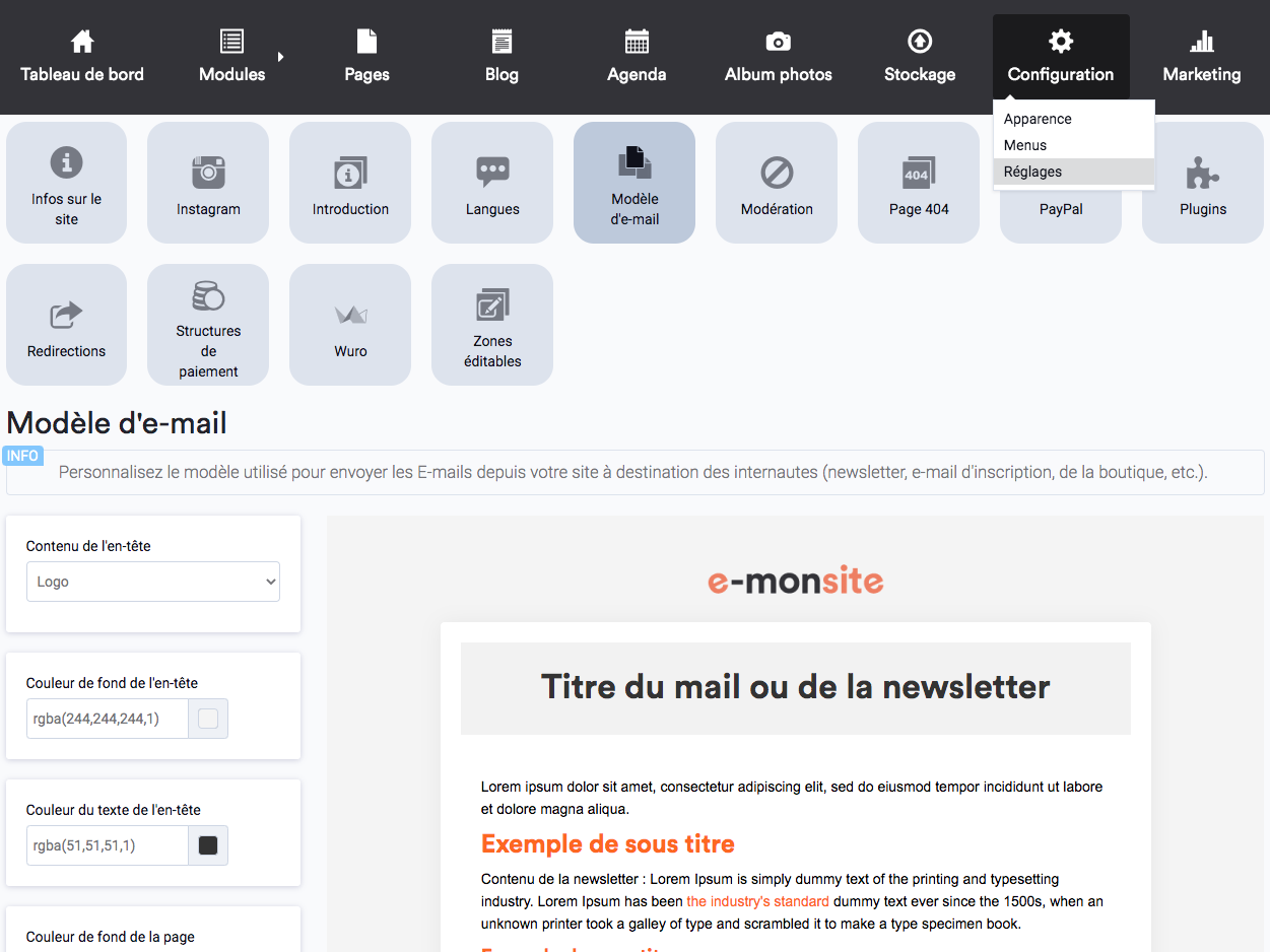 Personnaliser l'apparence des newsletters