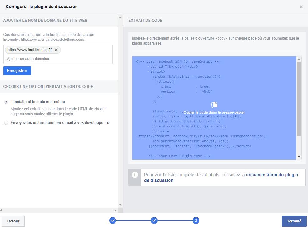 Récupérer le code html pour intégrer le chat Messenger sur votre site