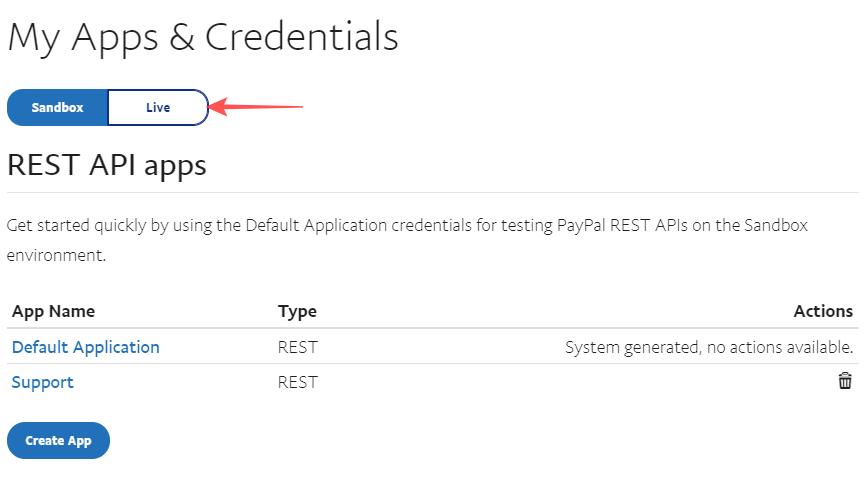 Récupérer les identifiants PayPal pour le mode live