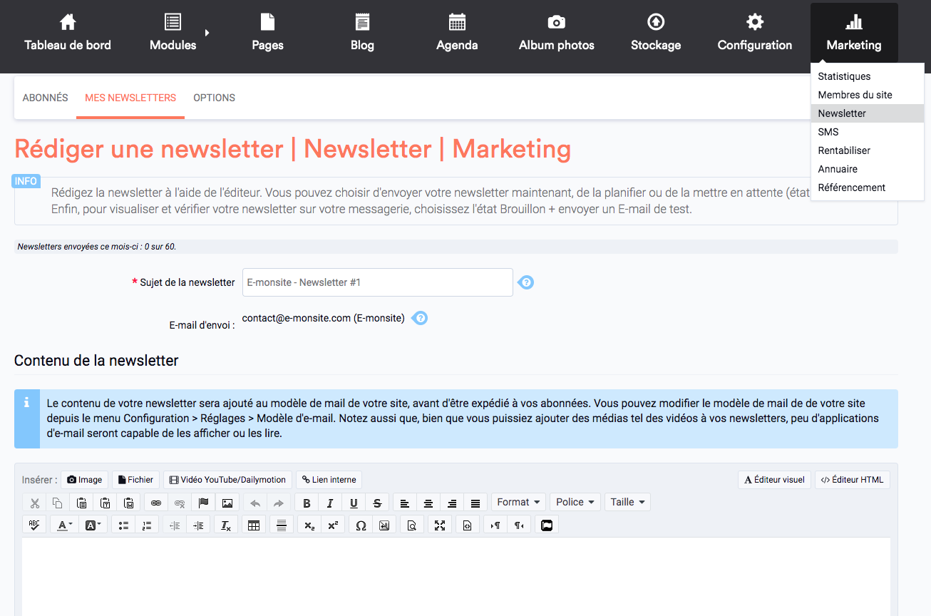 Rédiger et envoyer une newsletter
