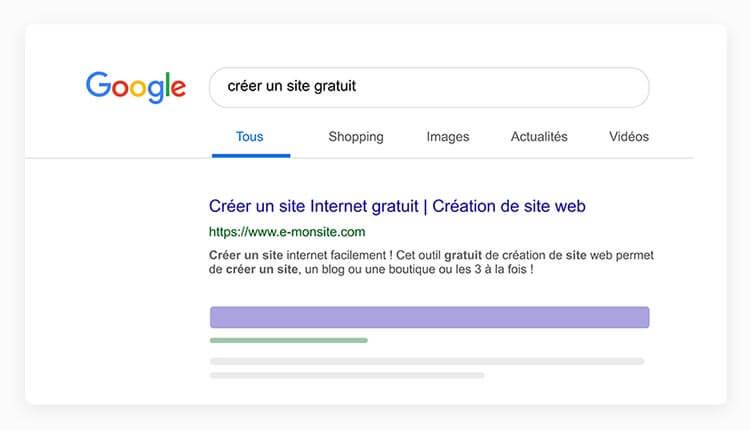 Un site internet e-monsite apparaît dans les résultats de recherche Google