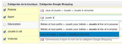 Relier les catégories Google Shopping