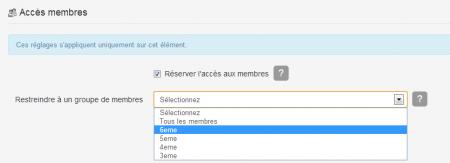 Restreindre accès membres e-monsite