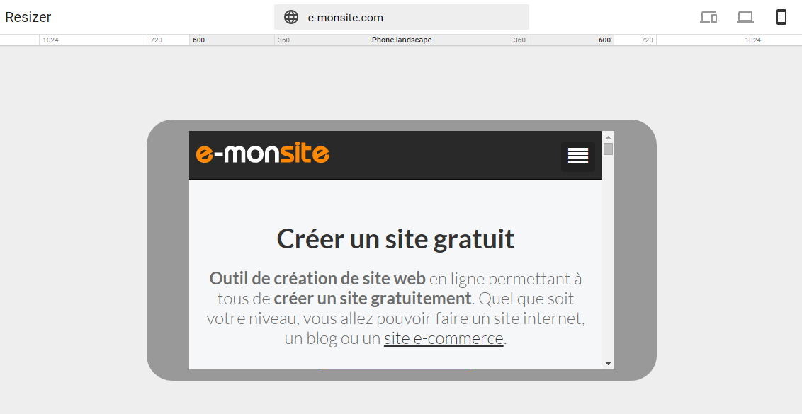 Resizer pour mobile