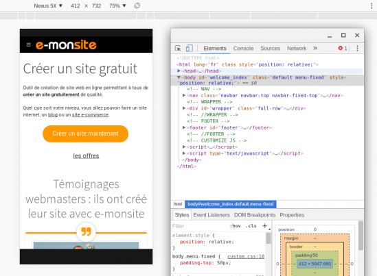 Responsive sur chrome