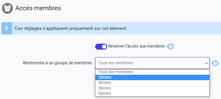 Restreindre l'accès aux contenus pour les membres