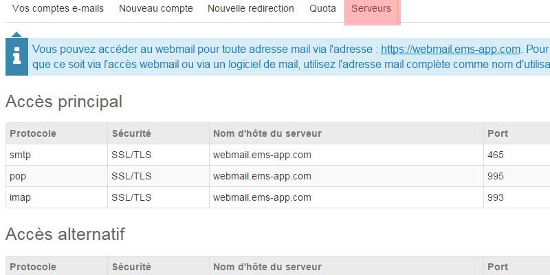 Serveurs de mail e-monsite