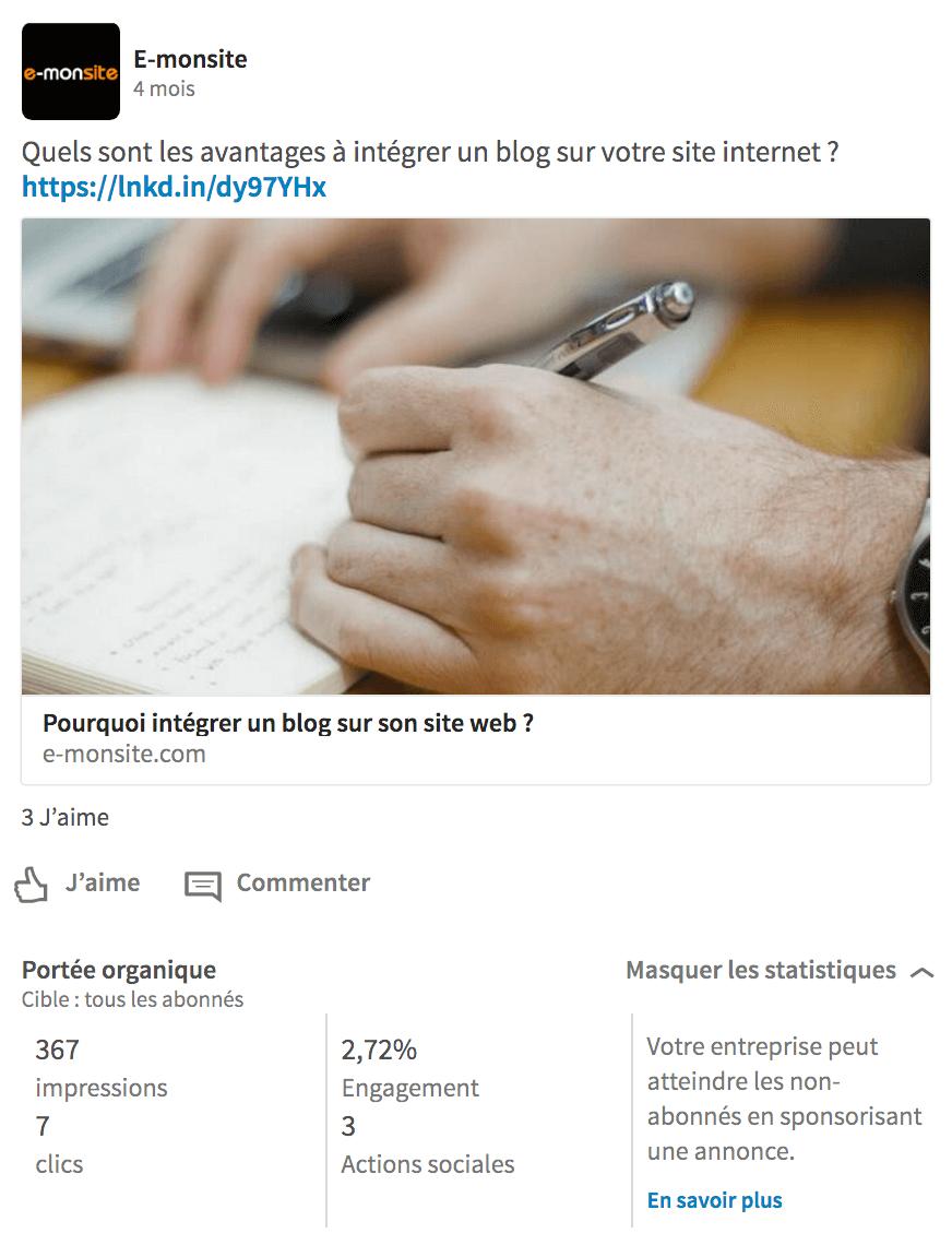 Statistiques sur les publications LinkedIn