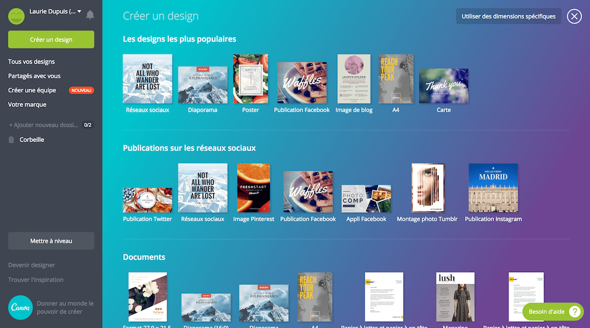 Interface Canva