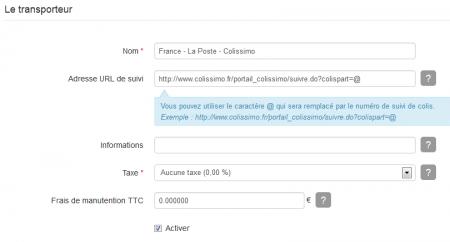 Configurer l'URL de suivi du transporteur