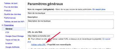 Comment valider son site sur Google Merchant Center