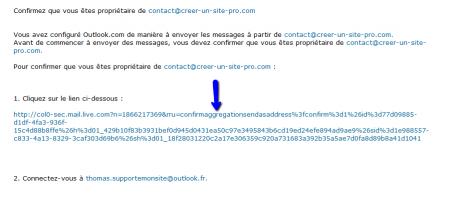 Cliquez sur le lien contenu dans le mail envoyé par Outlook