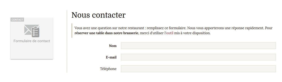 Widget formulaire contact 1
